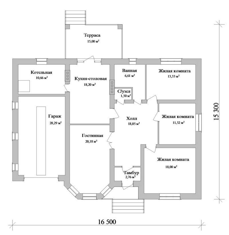 Контраст C-172. Проект одноэтажного дома на 3 спальни, с террасой, гаражом и подвалом