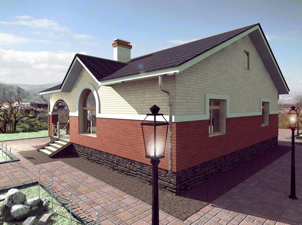 Контур A-047. Проект одноэтажного коттеджа на 2 спальни, с террасой