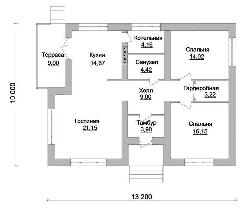 Коралл A-052 с видеообзором. Проект простого одноэтажного коттеджа на 2 спальни, с террасой