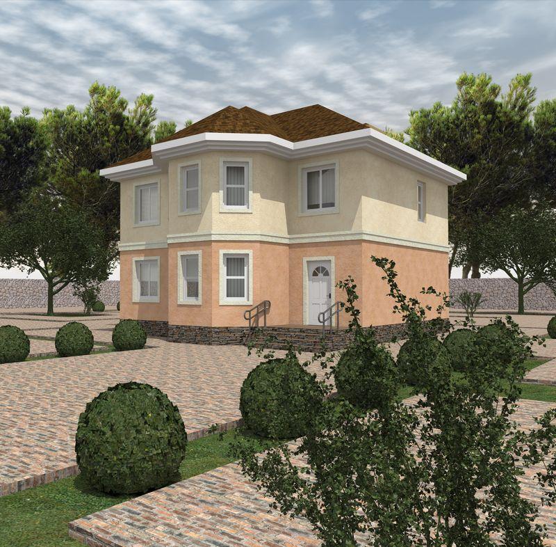 Коралловый замок C-206. Проект двухэтажного дома с эркерами, на 3 спальни и 2 кабинета