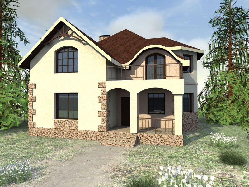 Коразон D-066. Проект мансардного коттеджа улучшенной планировки, на 4 спальни, с террасой