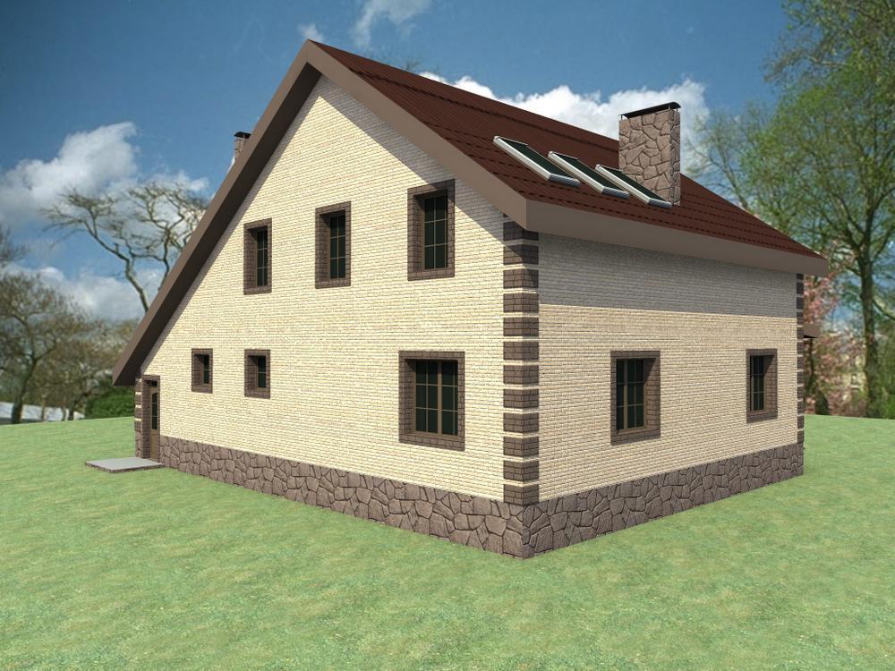 Котор E-033. Проект мансардного дома на 4 спальни, с гаражом и большой гостиной