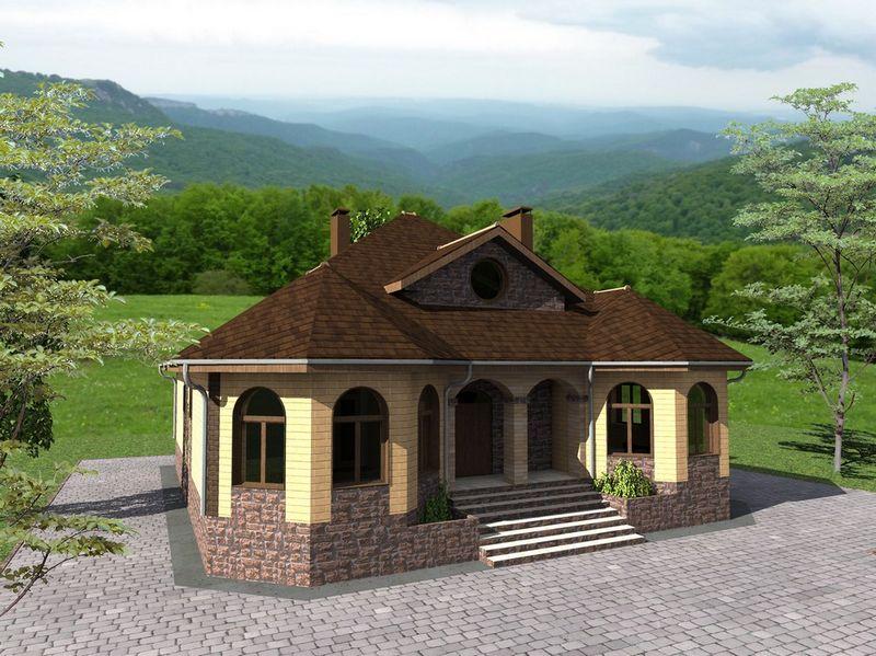 Кратор F-056. Проект мансардного дома с цокольным этажом, на 4 спальни + кабинет