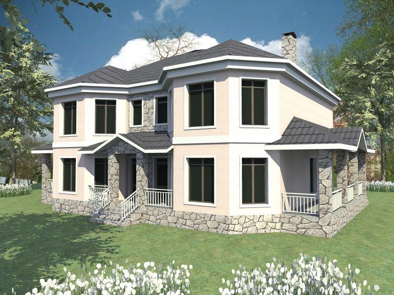 Крылья советов F-046. Проект двухэтажного дома с террасой на две семьи