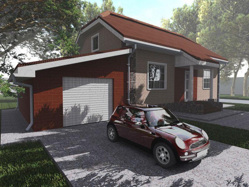 Криптон A-044. Проект 1-этажного коттеджа на 2 спальни, с гаражом