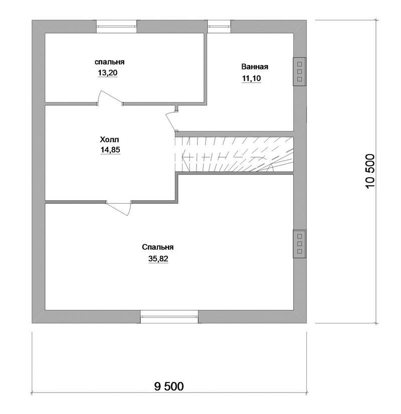 Крона C-145. Проект дома с мансардой, тремя спальнями и террасой