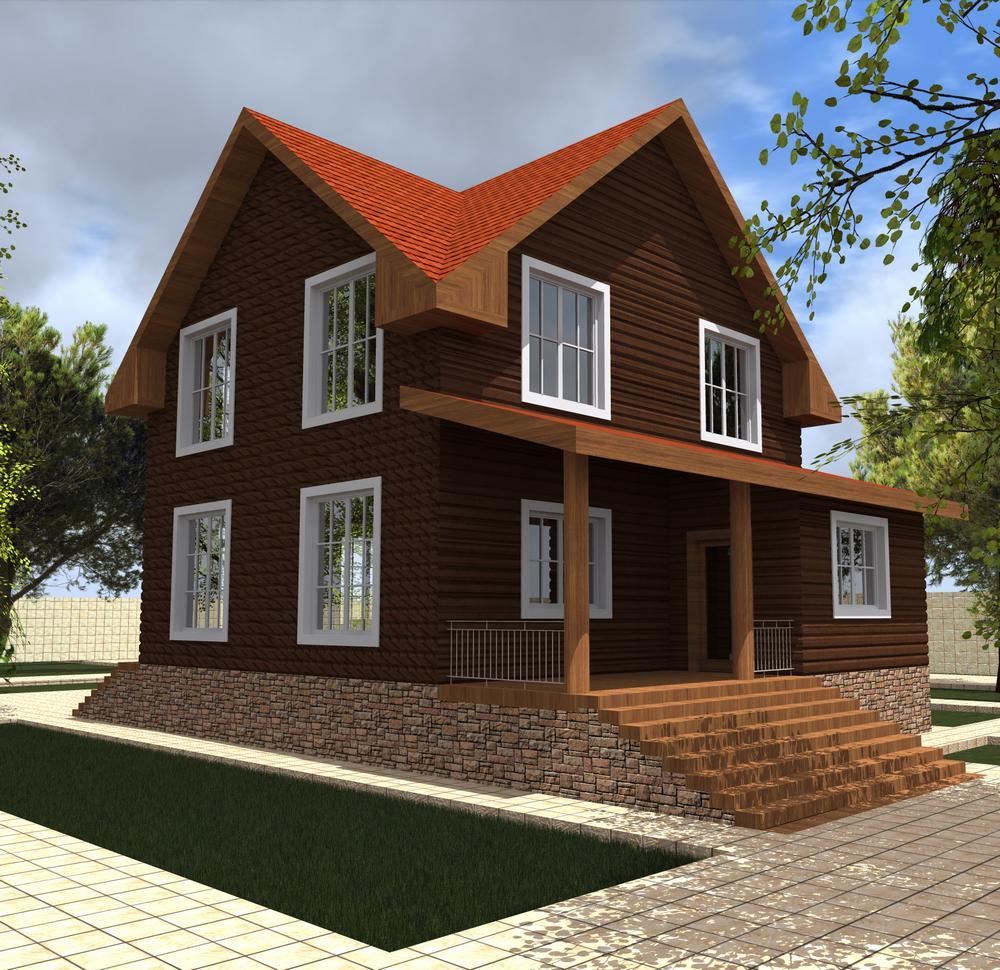 Купец C-193. Проект мансардного дома на 3 спальни, с террасой