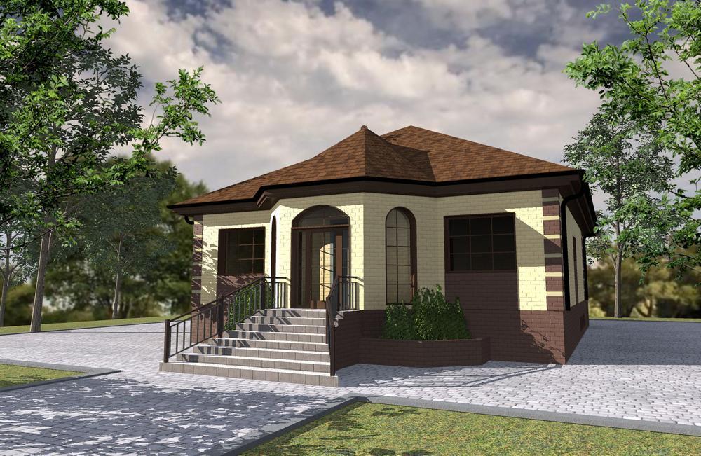 Курган C-231. Проект одноэтажного дома с цокольным этажом, на 2 спальни, с террасой