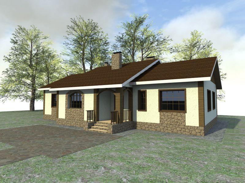 Лабиринт B-118. Проект одноэтажного дома до 150 м2, на 3 спальни, с большой гостиной
