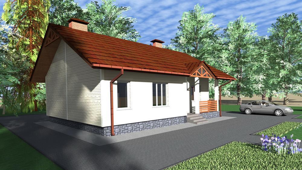 Лагуна A-028. Проект простого одноэтажного дома с тремя спальнями