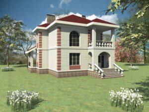 Лайл C-079. Проект двухэтажного коттеджа в классическом стиле, на 3 спальни, с двумя террасами