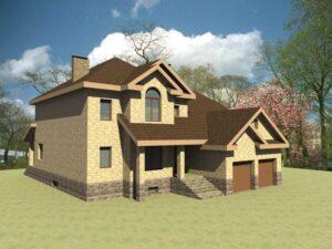 Лаймовый сад F-001. Проект двухэтажного дома на 5 спален, с цокольным этажом, гаражом и баней