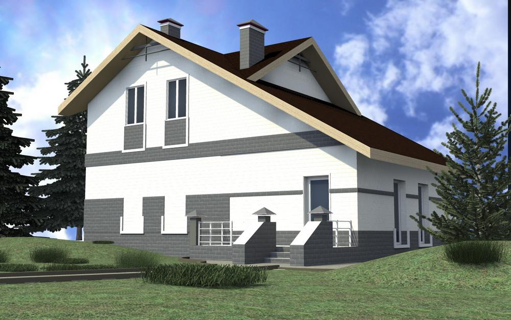 Лайт Хаус A-051. Проект коттеджа с мансардой, на 3 спальни