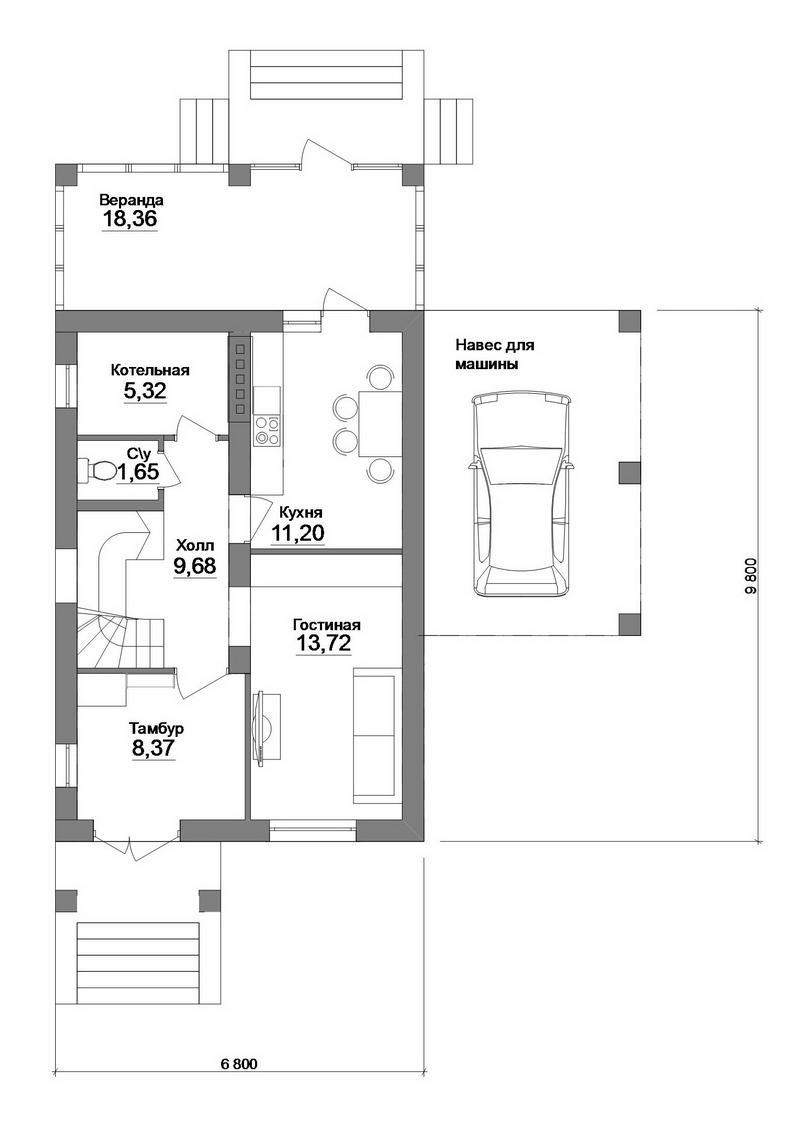 Лампада B-212. Проект мансардного коттеджа на 2 спальни, с верандой и навесом для авто