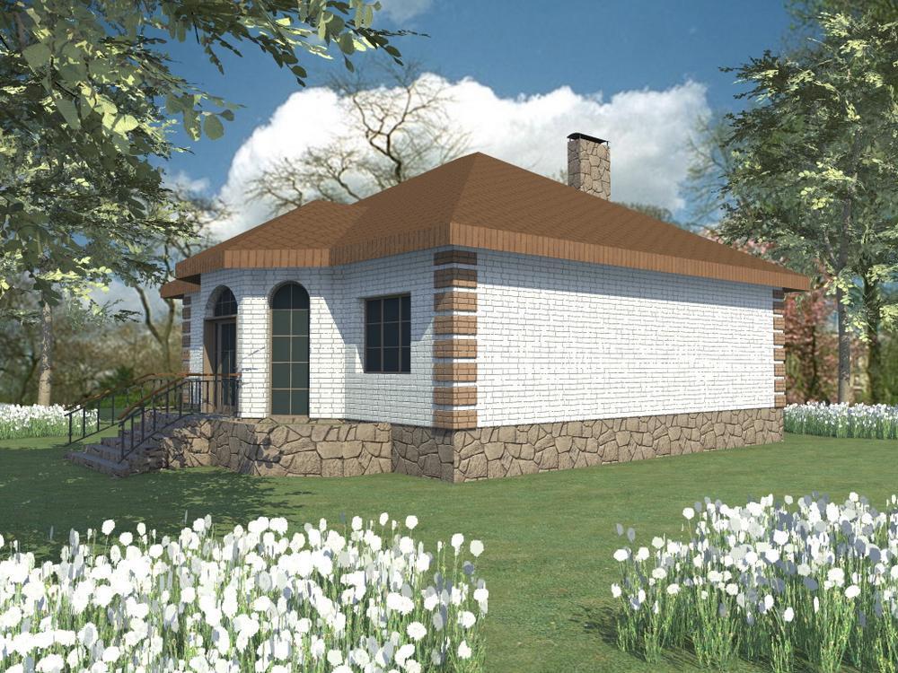 Ланфорт B-090. Проект одноэтажного дома с тремя спальнями