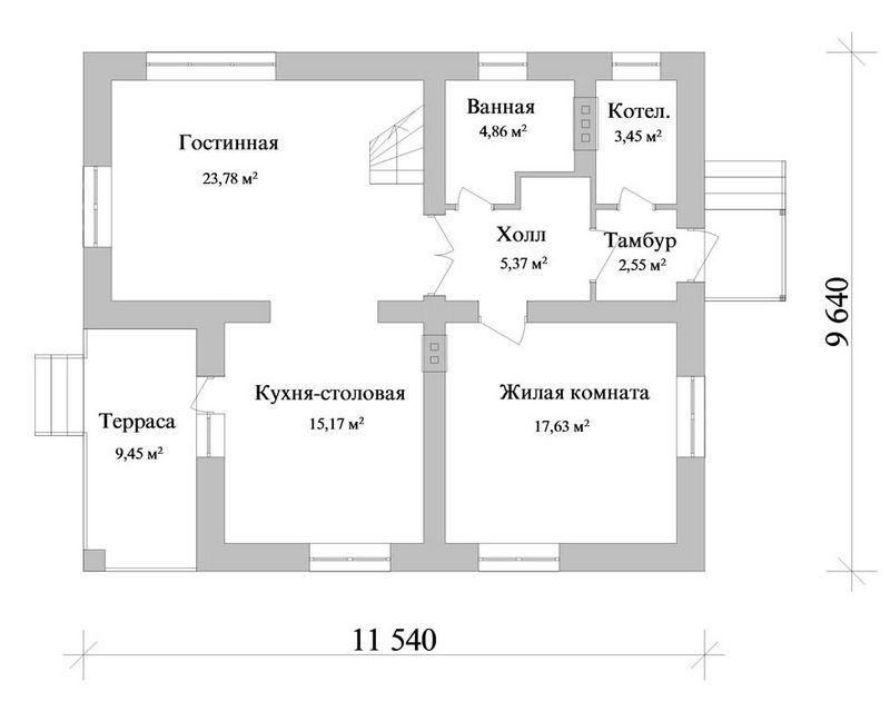 ЛАРК B-079. Проект коттеджа с мансардой на 4 спальни, с террасой и балконом