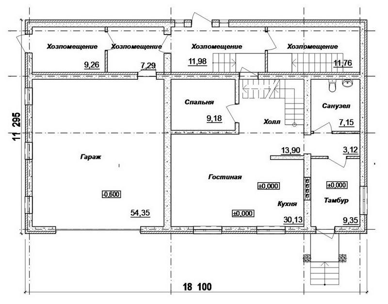 LARS F-051. Проект мансардного коттеджа на 4 спальни, с гаражом