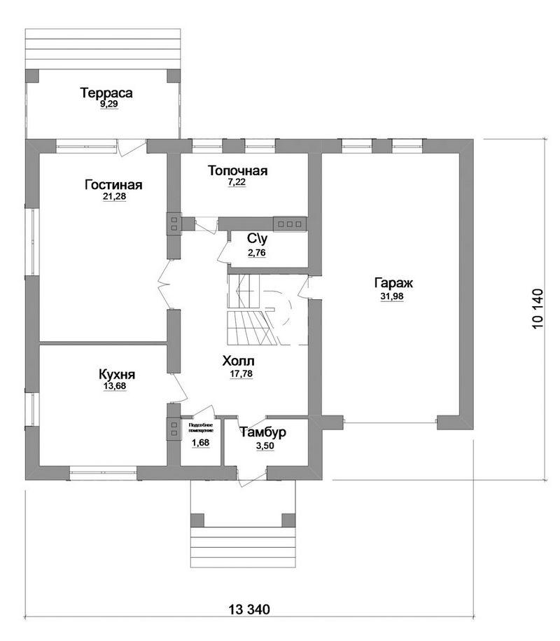 Ларса C-156. Проект мансардного коттеджа на 3 спальни, с пристроенным гаражом