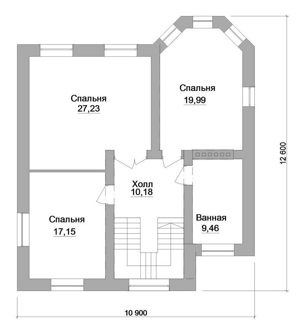 Лауреат C-227. Проект двухэтажного дома с четырьмя спальнями и небольшой террасой