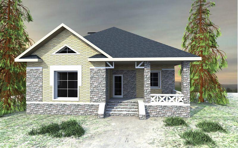 Лазурь B-158. Проект одноэтажного дома на 3 спальни с террасой