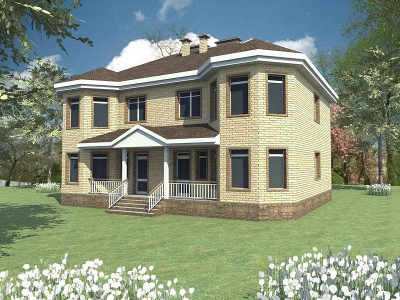 ЛебедиHouse E-025. Проект двухэтажного дома с террасой на две семьи