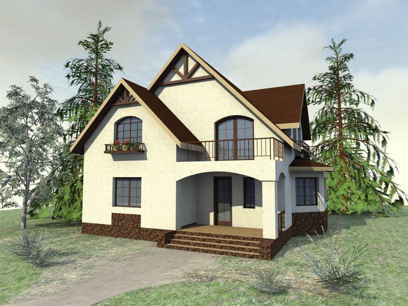 ЛЕБЕН D-064. Проект мансардного коттеджа на 5 спален с террасой-балконом