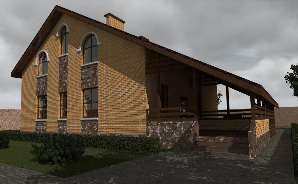 Лейтон D-081. Проект мансардного дома на 3 спальни, с кабинетом, террасой и навесом для авто