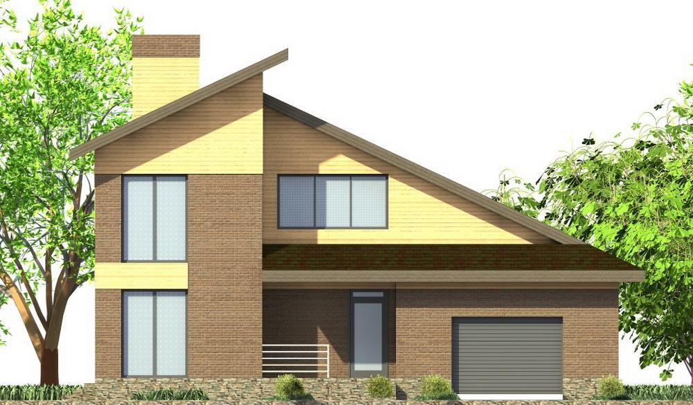 Леннард D-093. Проект мансардного коттеджа на 4 спальни, с гаражом, террасой, спортзалом