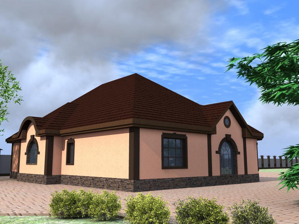 Лепрекон E-050. Проект одноэтажного дома с четырьмя спальнями, террасой