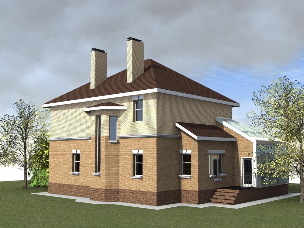 Лестер D-059. Проект двухэтажного коттеджа на 3 спальни, с зимним садом
