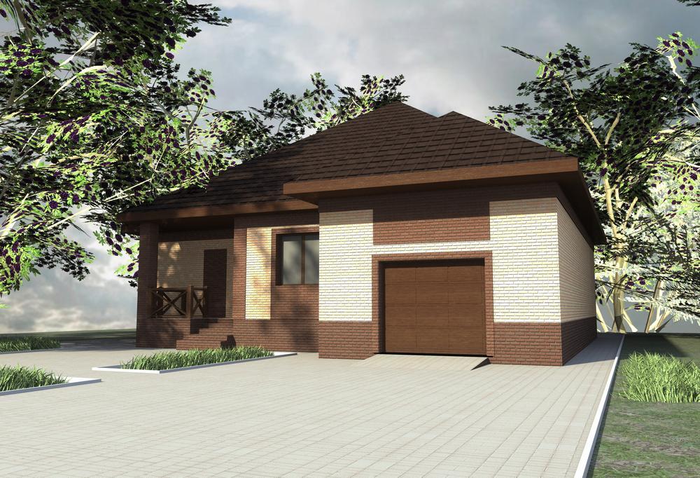 Либерал B-255. Проект одноэтажного дома с гаражом, на 2 спальни, с террасой