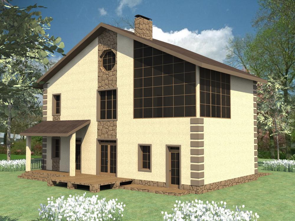 Лин C-152. Проект двухэтажного дома на 3 спальни, с гаражом и зимним садом