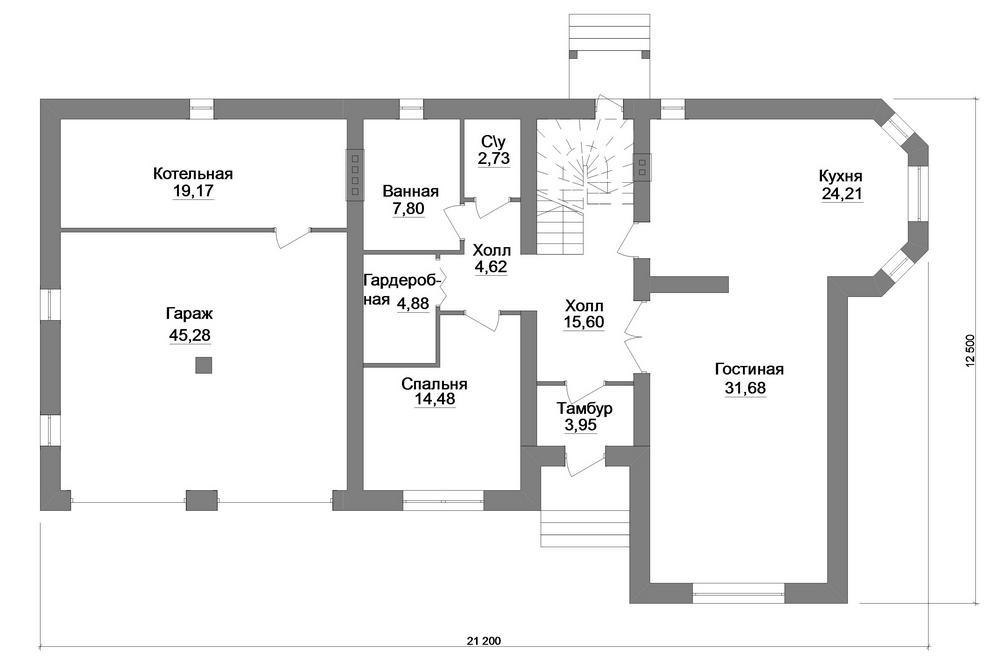 Локомотив F-074. Проект двухэтажного дома с 4 спальнями, бильярдной и гаражом на 2 авто