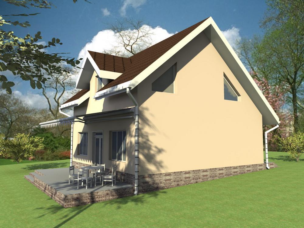 Локвуд B-002. Проект мансардного коттеджа на 2 спальни, с современной планировкой