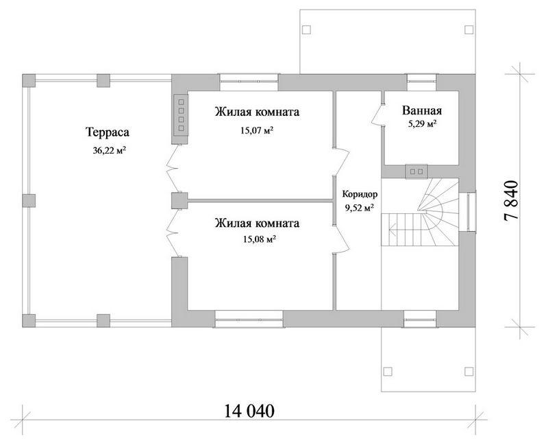 ЛОН C-109. Проект двухэтажного дома на 2 спальни, с гаражом и двумя террасами