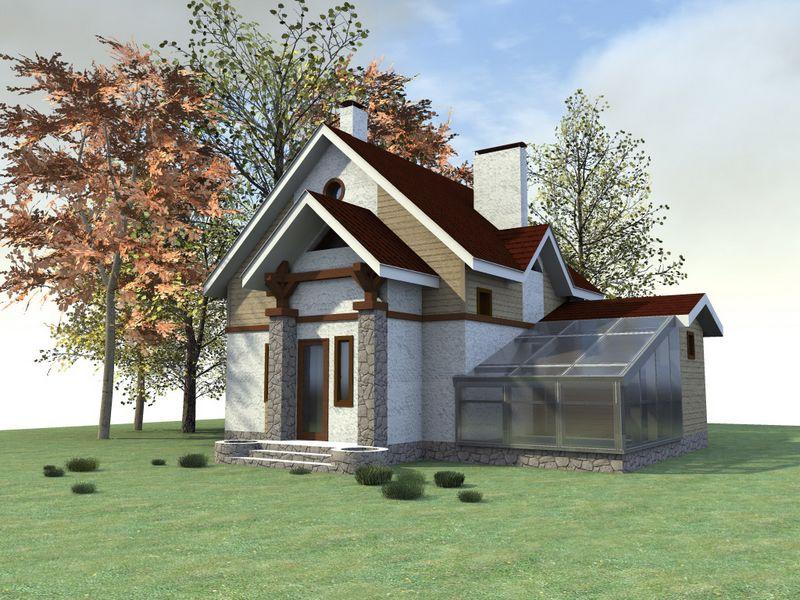 ЛУМИС B-115. Проект небольшого мансардного дома, с баней, бассейном, с двумя спальнями