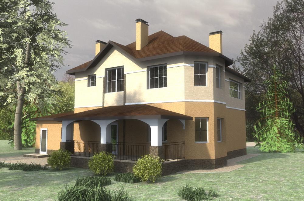 Мадонна D-073. Проект функционального двухэтажного коттеджа на 2 спальни, с гаражом