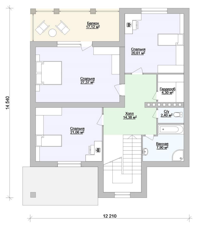Магнолис E-055. Проект красивого мансардного коттеджа с тремя спальнями и террасой