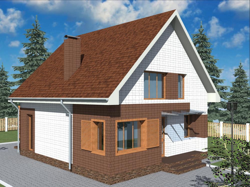 Махаон B-266 с видеообзором. Проект одноэтажного дома с мансардой, террасой, на 2 спальни