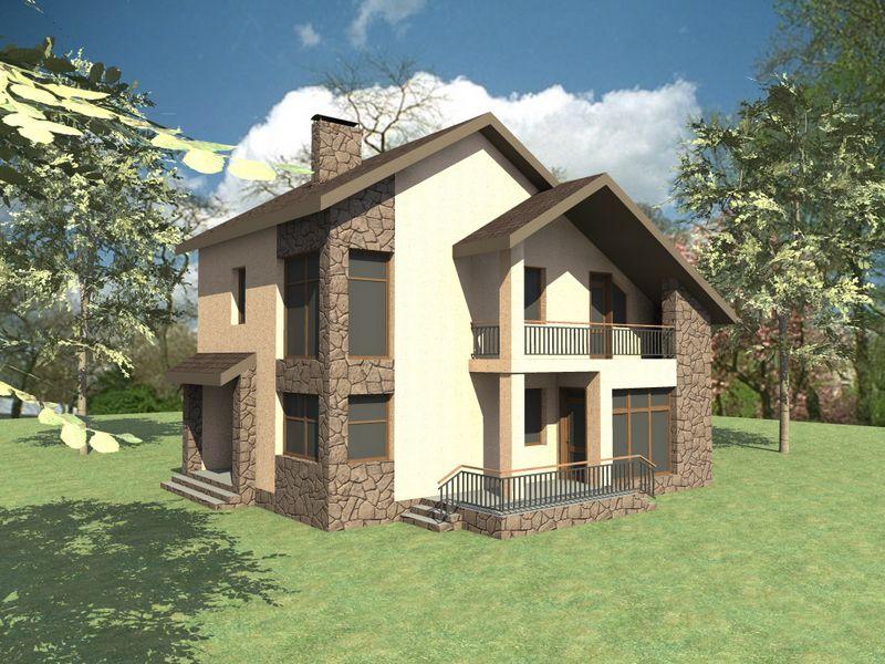 Майваку C-140. Проект 2-этажного дома на 4 спальни, с террасой
