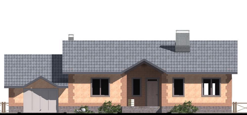 Макар C-209 с видеообзором. Проект одноэтажного коттеджа с пристроенным гаражом, террасой, на 3 спальни