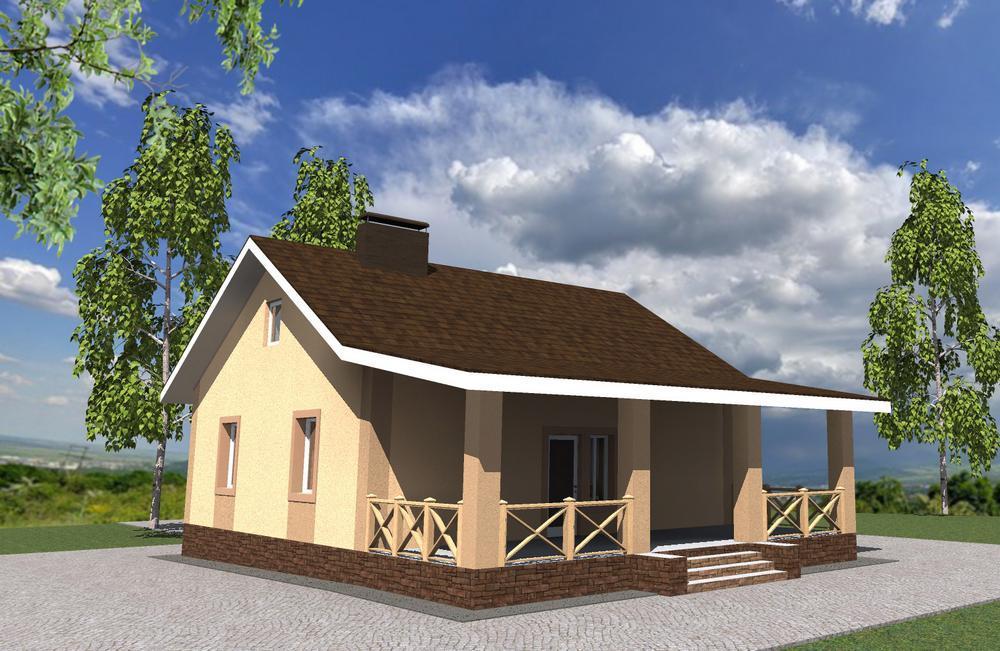 Макарий B-248. Проект одноэтажного дома на 2 спальни, с террасой