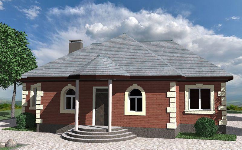 МАКЕДОН B-190. Проект одноэтажного дома на 3 спальни, с полукруглой террасой