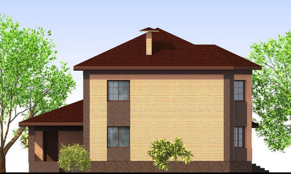 Максвелл E-043. Проект двухэтажного дома с гаражом, террасой, на 4 спальни