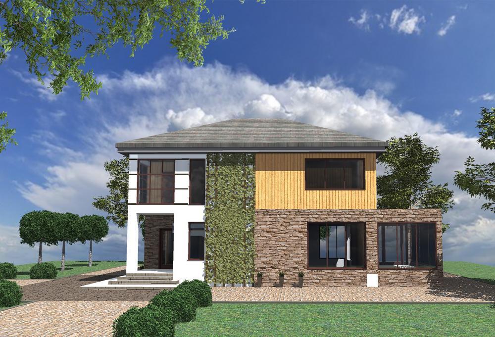 Маракеш C-228. Проект современного двухэтажного дома на 2 спальни, с террасой и лоджией