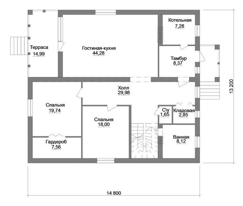 МАРАТ D-084. Проект дома с мансардой, четырьмя спальнями и террасой