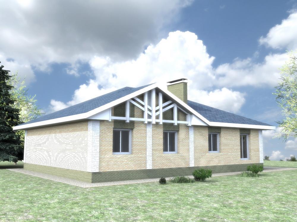 Марчела C-223 с видеообзором. Проект одноэтажного дома на 3 спальни с угловой террасой