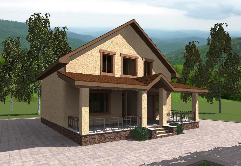 Марко D-109. Проект мансардного дома на 3 спальни, с террасой