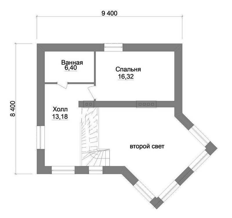 Маршал B-163. Проект двухэтажного дома, с 2 спальнями и террасой