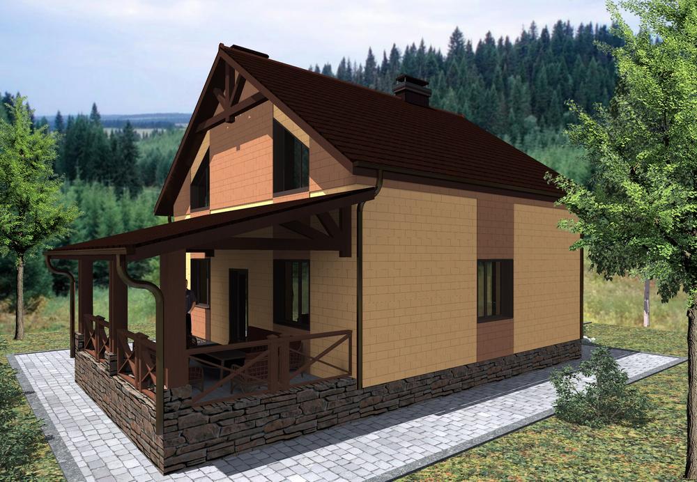 Массандра B-189. Проект одноэтажного коттеджа с мансардой на 3 спальни, с террасой